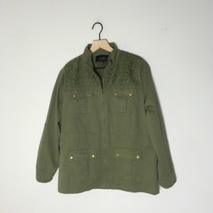 NWOT Blu Pepper Army Green Crochet Utility Jacket